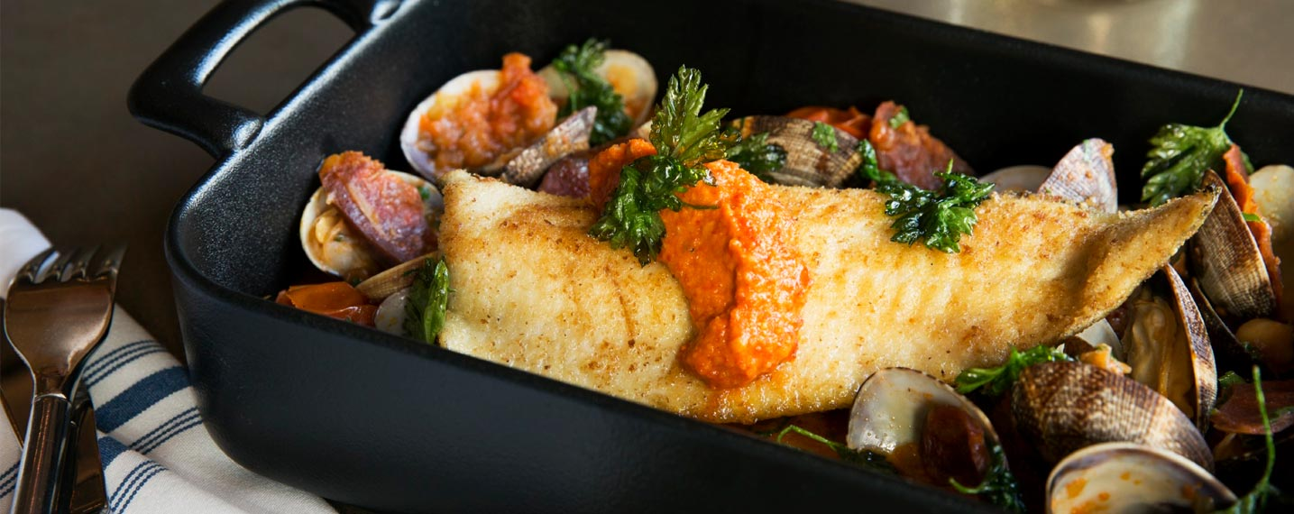 Almond Crusted Trout with Steamed Clams, Chorizo, Chick... Romesco Sauce