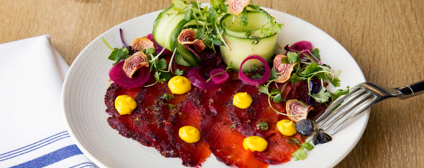 Beet Cured Sockeye Salmon Carpaccio is calling your name