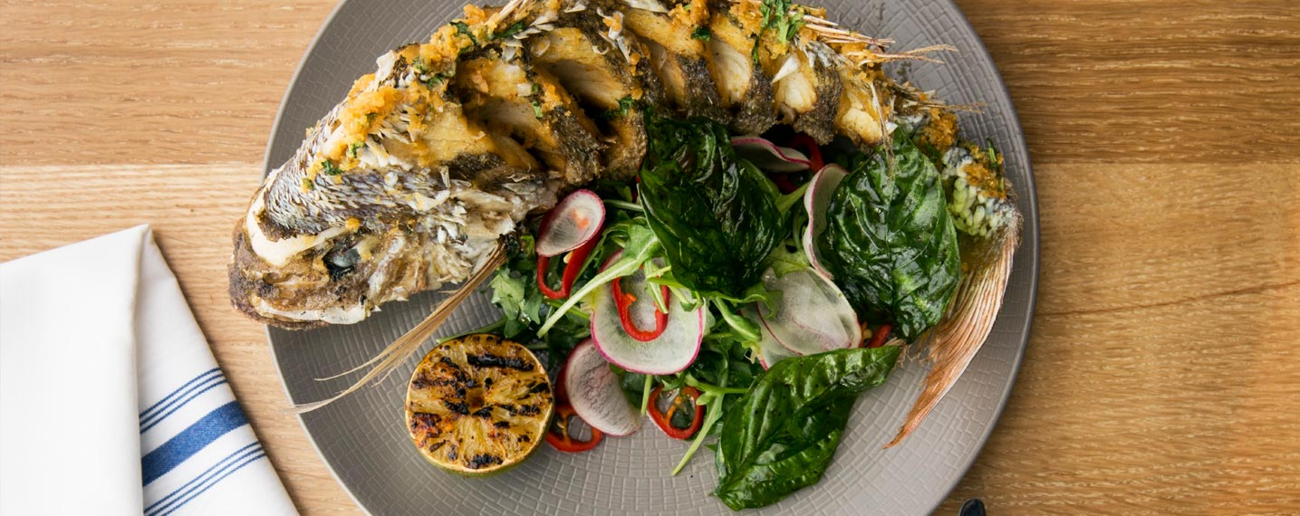 Whole Snapper with Basil, Garlic & Lime Sauce