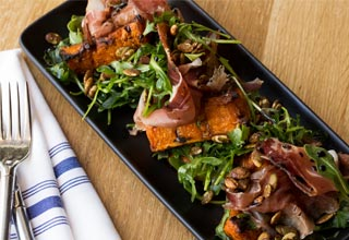 Roasted Pumpkin & Speck with Arugula, Pumpkin Seeds and Balsamic